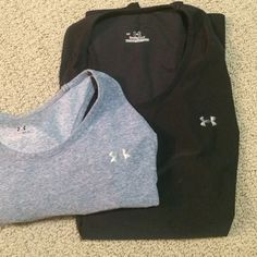 2-pack racer back Under Armour tank tops Two Under Armour tank tops. Hazel blue tank top is a size medium, black tank top is a size large. Both have the racer back, limited wear. Under Armour Tops Tank Tops
