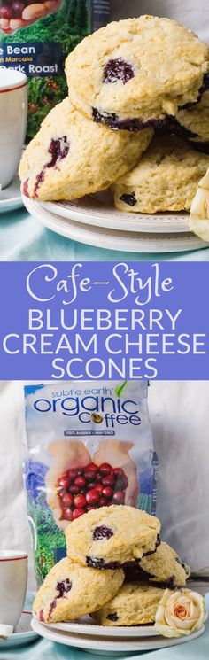 #ad If you love homemade scones, then Blueberry Cream Cheese Scones are for you! These baked scones have butter, cream cheese and fresh berries for the best blueberry scones for weekend brunches or celebrations. This easy baked scones recipe feeds a crowd. #scones #blueberryscones #creamcheesescones #bakedscones #brunch #breakfast #sconesrecipe #howtomakescones #blueberries #biscuits #mothersdayrecipe #4thofjulyrecipe #coffeehouse #coffee #cafedonpablo #subtleearthorganiccoffee…