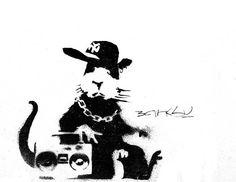 Banksy Canvas Custom Art MOUNTED  24x36 Boombox Rat by daveyknew84, $89.00
