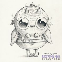 Cute monster and creature art by Chris Ryniak - morning scribbles