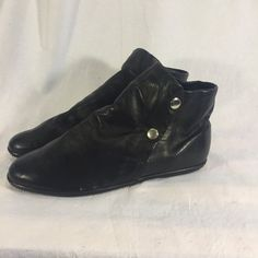 Vintage NWT 1980s Black Leather Flats Booties by TheReformedMoth