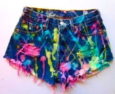 For crazy colorful clothes, drip bleach mixed with highligher ink.  What a neat idea!