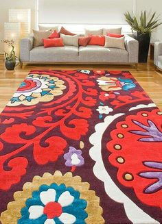 The stunning Suzani Aubergine rug from our first KAS collection Deco Furniture, Cool Furniture, Suzani Fabric, Cheap Carpet Runners, Soft Furnishings, Floor Rugs, Wall Tapestry, Boho Decor, Rugs On Carpet