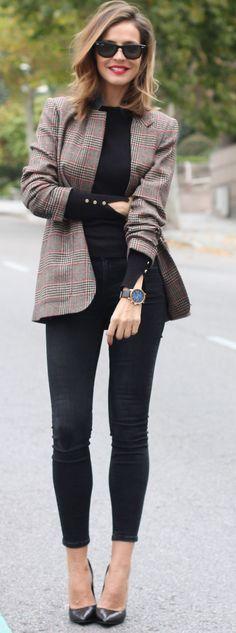 Zara Plaid Blazer On Total Black Fall Street Style Inspo by LadyAddict