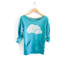 Nubes dobles mano ESTARCIDOS profundo escote Heather artista serie sudadera azul Teal - S M L XL