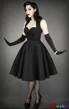 pin up 50' BLACK DRESS heart neckline petticoat | CLOTHING  Dresses | Restyle.pl