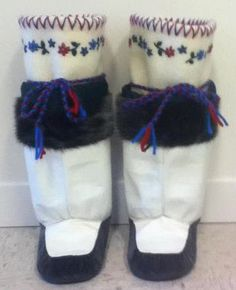 Inuit made girl's sealskin kamiks by Lisa Angmarlik (Chipitola in The Black Fortress)