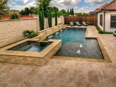 A Geometric pool design can be contemporary, classic or traditional. The sleek and straight lines of this timeless style pool gives the space a formal. Backyard Pool Landscaping, Backyard Pool Designs, Small Backyard Pools, Small Pools, Small Inground Pool, Landscaping Supplies, Landscaping Plants, Swimming Pools Backyard, Garden Design Ideas