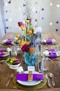 Colorful and modern #wedding tablescape with a geometric backdrop | Green Blossom Photography | see more on:  http://burnettsboards.com/2014/03/hunger-games-capitol-city-citizen-wedding/