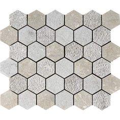 Olive Green Textured 10 3/8x12 Hexagon Limestone Mosaics.