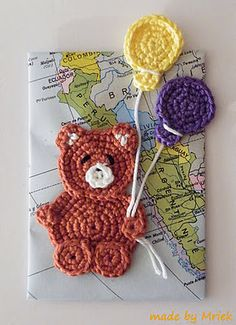 bear with balloons  applique to blanket squares