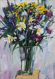 Oil painting / Купить Картина маслом Полевые цветы - ромашка, пижма, ромашки, букет ромашек, полевые цветы