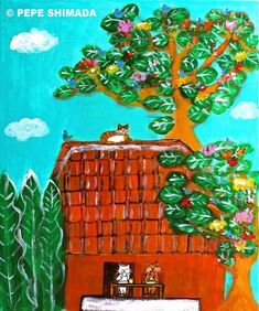 """""""Cat in the Afternoon of a Paradise"""" Acrylic on Canvas Artist Pepe Shimada… Pictures To Paint, Print Pictures, Cartoon Drawings, Animal Drawings, Cute Paintings, Dogs And Kids, Ginger Cats, Cat Art, Illustrations Posters"""