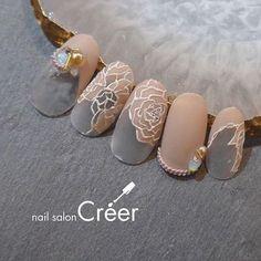 Fancy Nail Salon, Fancy Nails, Trendy Nails, Gold Nails, Valentine's Day Nail Designs, Nail Polish Designs, Nails Design, Asian Nails, Vintage Nails