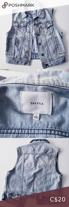 ARITZIA DENIM VEST Pretty little TALULA vest in a great light wash denim material. Two open deep pockets and two bust pockets. In great condition 🖤 Aritzia Jackets & Coats Vests Plus Fashion, Fashion Tips, Fashion Trends, Pretty Little, Vests, Denim Shorts, Jackets For Women, Deep, Pockets