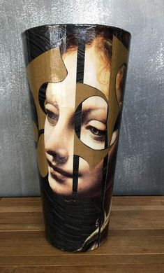 Decoupaged glass vase by Viveca Moller