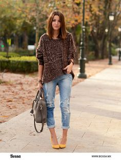yellow shoes + distressed + large sweater