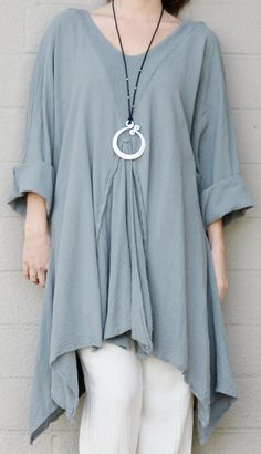 OH MY GAUZE Cotton Lagenlook  RENNE  Flared Godet Tunic Top OS 1X/2X/3X STEEL #OHMYGAUZE #Tunic #Versatile