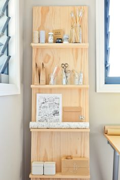 A leaning homemade shelf for holding pretty things