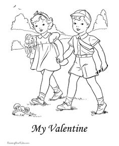 Valentines Day coloring pages - 016 Valentines Day Drawing, Valentines For Kids, Vintage Valentines, Valentine Day Cards, Colouring Sheets, Colouring Pages, Coloring Books, Valentines Day Coloring Page, Christmas Coloring Pages