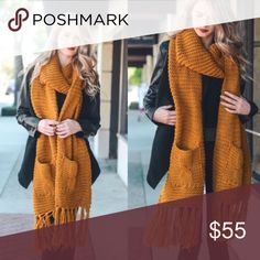 Chunky Oversized Knit Wrap Tassel Scarf Mustard Chunky Oversized Knit Wrap Two Pocket Tassel Scarf  No trades. Price is firm unless bundled.   *Also available in Grey & Burgundy. Glamvault Accessories Scarves & Wraps