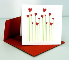Straight green lines + tiny red hearts = supercute flowers for your valentine… Homemade Birthday Cards, Homemade Cards, Valentine Day Cards, Valentines Diy, Love Cards, Diy Cards, Tarjetas Diy, Karten Diy, Heart Cards