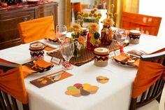 déco de table d'automne en orange et brun