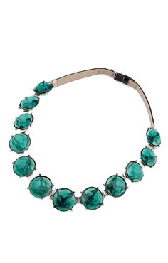 Green Gemstone Leather Chain Vintage Necklace