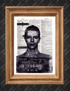 Dictionary Art Print  David Bowie Mugshot  by AThousandWordsPrints, £5.00
