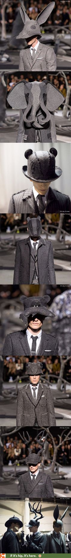 Animal Hats for Thom Browne's 2014 Fall Winter Collection by milliner Stephen Jones.