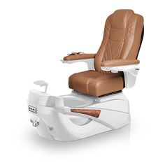 Luminous pedi-spa shown in Cappuccino Ultraleather cushion, White Pearl base, Aurora LED Color-Changing bowl (shown in off-mode)