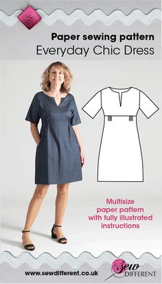 Brand new sewing pattern for women from Sew Different. I love the way the dress nips in just above the waist and flares out to a gentle A-line. This fitting is created by smocked elasticated panels, one at the back and 2 small ones under the bust at the front. These are a pretty design feature but they make the dress super comfy, pulling it in to create a nice silhouette but also allowing easy movement. Find the pattern and all the details on the website.