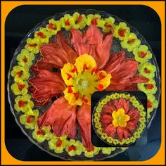 Orange and yellow flowers arranged in two different types.