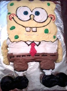 """""""SPONGEBOB"""" PULL A-PART CUPCAKE CAKE! These delicious cupcakes are arranged to create the fun cartoon character, Spongebob Squarepants!..."""