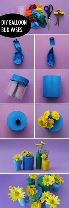 Make colorful bud vases using balloons and shot glasses or small cups! Heres how: http://www.brit.co/balloon-bud-vases/