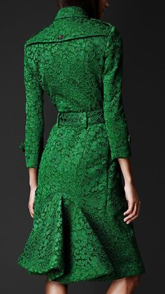 Emerald Green Lace Trench Coat