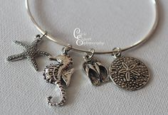 Silver Bangle Bracelet with starfish by CarriesCreativeChaos, $12.00