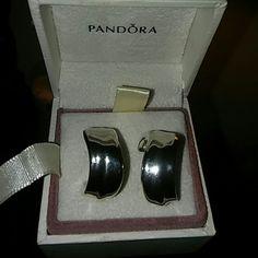 Pandora Earrings Pierced ear earrings with backs. 3/4 of in inch long. In box Pandora Jewelry Earrings