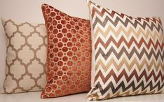 Copper Pillow Orange Pillow Velvet Geometric by septemberHOME--middle and right pillows