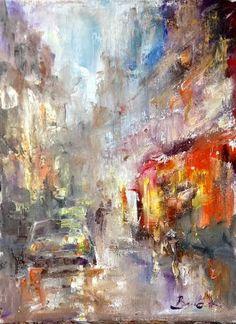 Rain city oil canvas Konrad Biro art Hungarian painter
