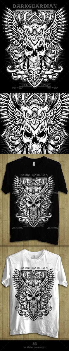 Darkguardian - Skull & Owl Theme Tshirt Design Template  - Download: http://graphicriver.net/item/darkguardian-skull-owl-theme-tshirt-design/10949584?ref=ksioks