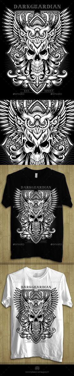 Darkguardian - Skull & Owl Theme Tshirt Design Template  - Download: http://graphicriver.net/item/darkguardian-skull-owl-theme-tshirt-design/10949584?ref=ksioks