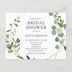 Home Interior Entrance Elegant Geometric Greenery Bridal Shower Invitation Postcard.Home Interior Entrance Elegant Geometric Greenery Bridal Shower Invitation Postcard Postcard Wedding Invitation, Botanical Wedding Invitations, Elegant Wedding Invitations, Bridal Shower Invitations, Birthday Party Invitations, Baby Invitations, Invitation Ideas, Event Invitations, Wedding Stationery