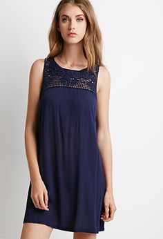 Crochet-Paneled Shift Dress | Forever 21 - 2000077686