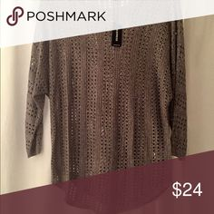 Pretty open weave sweater in great neutral color Soft and stylish open weave sweater in a great neutral color. Rayon. New with tags Express Sweaters Crew & Scoop Necks