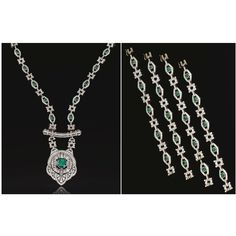 IMPORTANT EMERALD AND DIAMOND SAUTOIR, FRENCH, CIRCA 1930 Designed as a series of open work lozenge and stylised circularlinks set with cir...