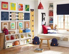 Primary colors in a boys room. Love the checkered wall.