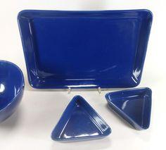 Arabia Finland Kaj Franck Kilta Teema 4 Pieces Large Plate Bowls Blue | eBay