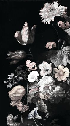 Still Life Flowers Illustration Dark Floral Mural by anewalldecor