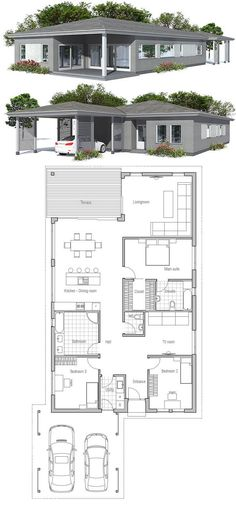 Simple modern narrow house. Floor Plan from ConceptHome.com